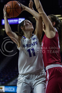 Freshman forward, Peyton Williams posts up during the K-State game against Oklahoma in Bramlage Coliseum on Feb. 21 2017. (Sabrina Cline | The Collegian)