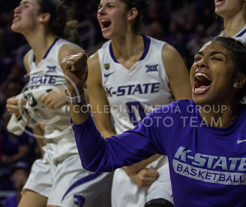 Senior forward, Erica Young, screams in celebration for her teammates during the K-State game against Oklahoma in Bramlage Coliseum on Feb. 21 2017. (Sabrina Cline | The Collegian)