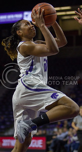 Junior guard, Karyla Middlebrook goes up for the shot during the K-State game against Oklahoma in Bramlage Coliseum on Feb. 21 2017. (Sabrina Cline | The Collegian)