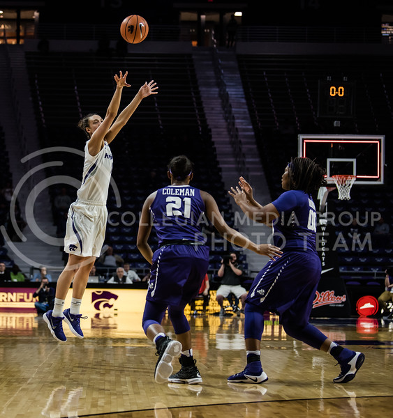 At Bramlage Coliseum Wednesday night, the Kansas State Wildcats women's basketball team faced off against the Texas Christian University Horned Frogs but lost with a final score of 63-68. (Olivia Bergmeier | Collegian Media Group)