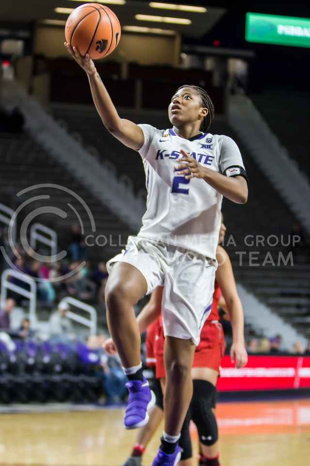Freshman guard Cymone Goodrich jumps for a layup against Texas Tech in Bramlage Coliseum on Feb. 7, 2018. The Wildcats defeated Red Raiders with a final score of 83-69. (Logan Wassall | Collegian Media Group)