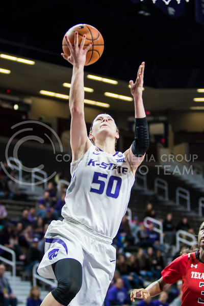 Senior guard Shaelyn Martin charges the baskey for a layup against Texas Tech in Bramlage Coliseum on Feb. 7, 2018. The Wildcats defeated Red Raiders with a final score of 83-69. (Logan Wassall   Collegian Media Group)