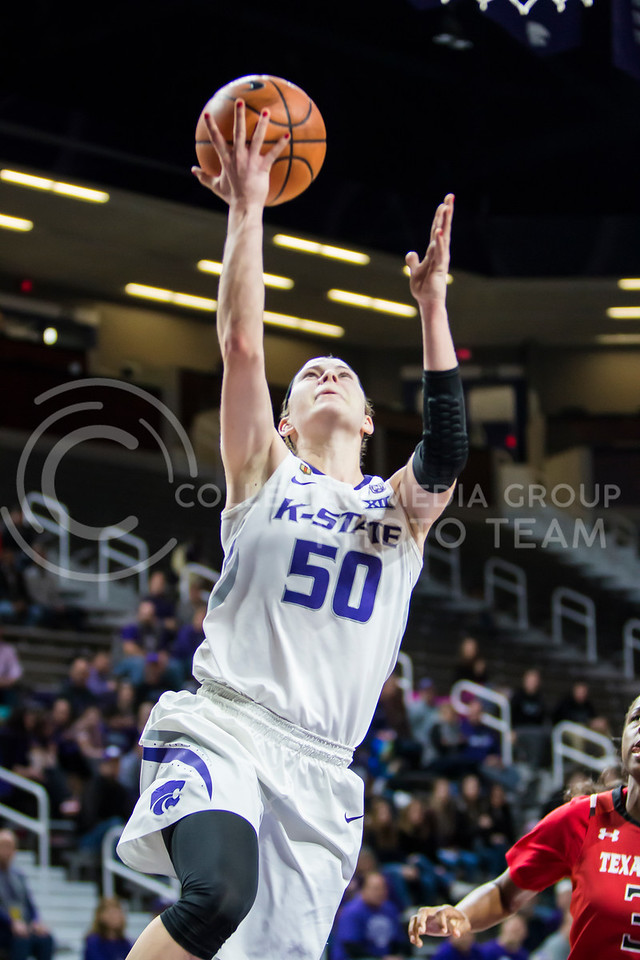 Senior guard Shaelyn Martin charges the baskey for a layup against Texas Tech in Bramlage Coliseum on Feb. 7, 2018. The Wildcats defeated Red Raiders with a final score of 83-69. (Logan Wassall | Collegian Media Group)