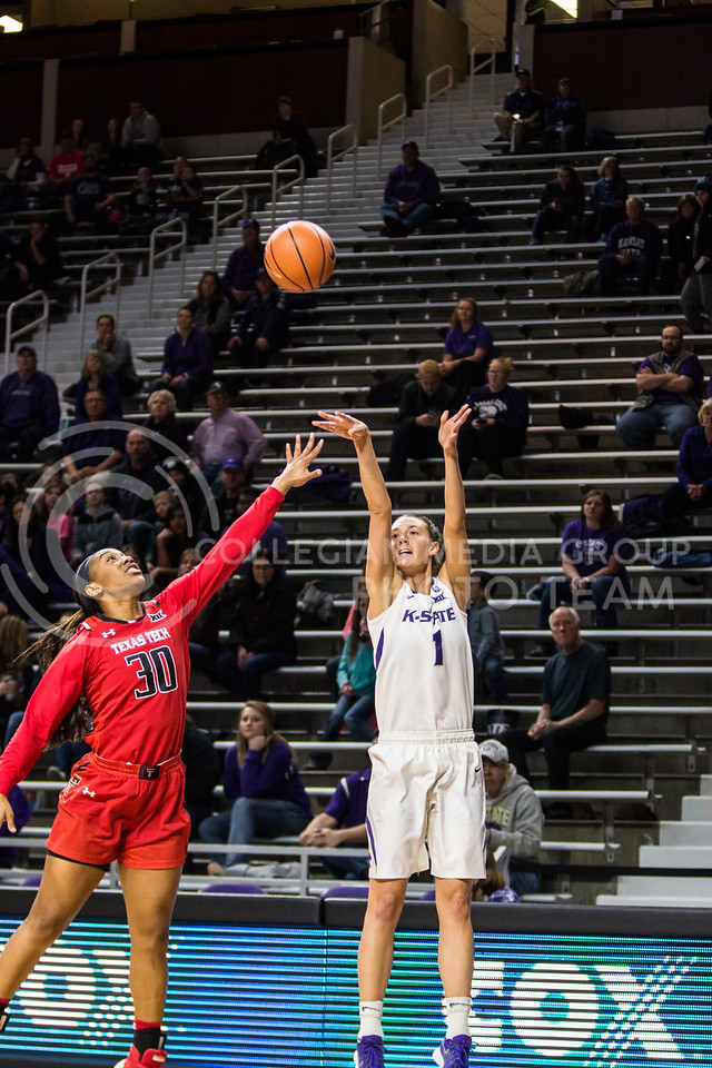 Senior forward Kaylee Page takes a shot against Texas Tech in Bramlage Coliseum on Feb. 7, 2018. The Wildcats defeated Red Raiders with a final score of 83-69. (Logan Wassall | Collegian Media Group)