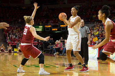 Scene from NCAA basketball game between Iowa State and Oklahoma at Hilton Coliseum in Ames, Iowa on December 31, 2017. Photo by Wesley Winterink.