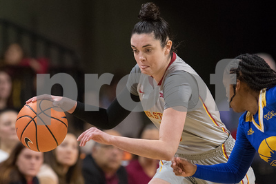 Action from NCAA Womens Basketball game between UMKC and Iowa State at Hilton Coliseum in Ames, Iowa on November 20, 2017. Photo by Wesley Winterink.