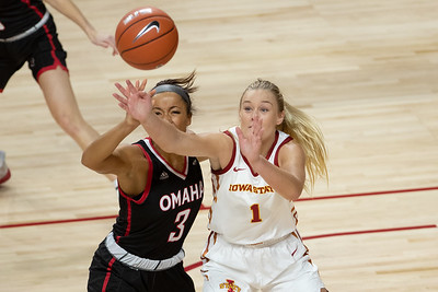 Action from NCAA womens basketball game between the UNO Mavericks and the Iowa State Cyclones at Hilton Coliseum in Ames, Iowa on November 25, 2020. Photo © Wesley Winterink.