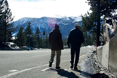 Jim and Ryan strolling in Mammoth