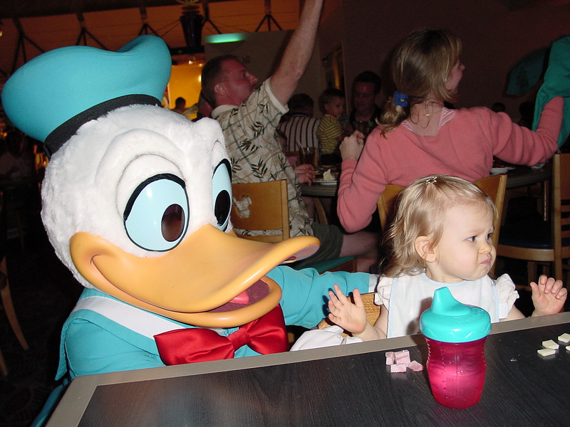 CM - Madison & Donald at Chef Mickey's 2 11-30-01