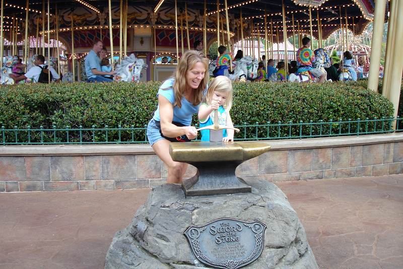 MK - Mommy and Madison trying to remove Sword in the Stone 12-9-05