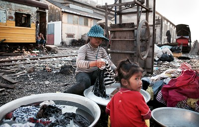 Hand washing - Railway Slums, Phnom Penh.  2016.