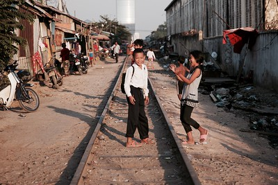 On the way home from school - Railway Slums, Phnom Penh.  2016.