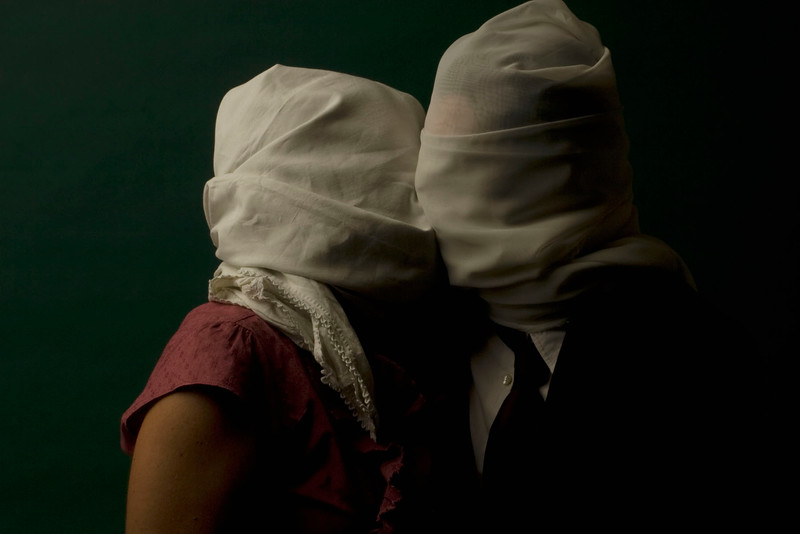 Tableaux, after Lovers, Magritte, 2007<br /> archival pigment print <br /> 28 x 40 inches (70 x 100 cm)