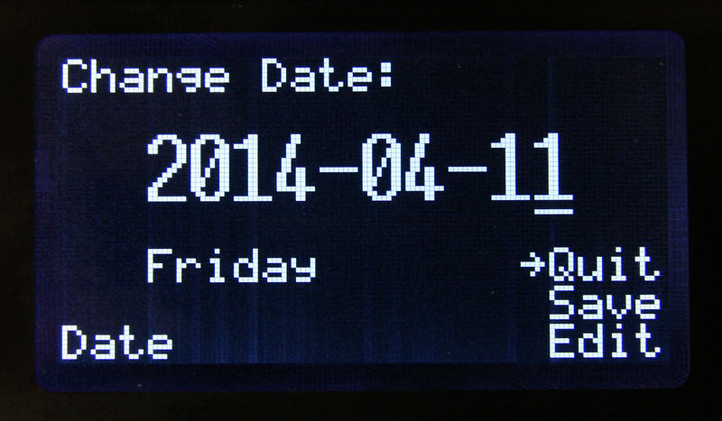 Date is changed by moving the underline cursor to the desired values.  Select save to make the change.
