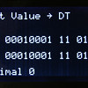 Register edit screen showing the DT register.  Values are presented in binary, hexadecimal and decimal numbering systems.