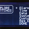 Main menu of available options to setup the clock.  SYSTEM shows internal chip registers.  CUSTOM controls display preferences.  REG EDIT allows access to all the ISL12022M internal registers.  ALARM, DATE and TIME allow setting of these values.