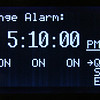 The alarm is changed by moving the underline cursor to the values.  An alarm can be created by matching any combination of hours, minutes and seconds.  Setting 59 seconds for example would trigger an alarm every 1 minute when :59 appeared in the clock display.
