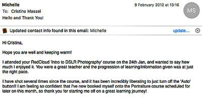 Michelle, now a pro photographer