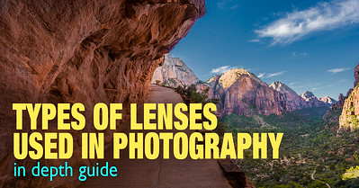 Different types of camera lenses used in photography