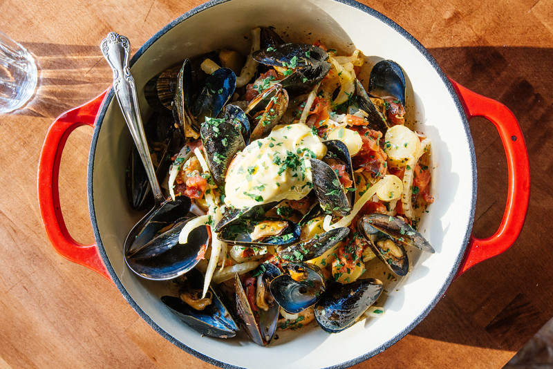 Roux, French bistro and wine bar, 688 Park Avenue, Rochester, NY 14607. In this photo, bouillabaisse (fish stew). Photo by Brandon Vick Photography LLC, http://brandonvickphotography.com/