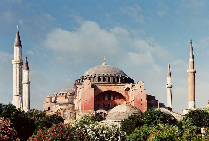 Hagia Sophia Museum, Istanbul, Turkey. Hagia Sophia is the former Greek Orthodox Christian patriarchal cathedral, later an Ottoman imperial mosque and now a museum in Istanbul, Turkey. It was built in 537 AD at the beginning of the Middle Ages and designed by architects  Anthemius of Tralles and Isidore of Miletus. Photo by Brandon Vick. https://www.brandonvickphotography.com/
