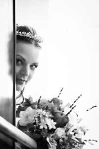 Caught Jessica Peeking around to see who was waiting to see her walk down the isle :)