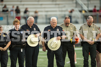 September 15, 2017 - Aledo Police officer honored for their service at Aledo ISD Stadium in Aledo, Texas. (Credit Image: Joseph Nguyen/TexasHSFootball.com)