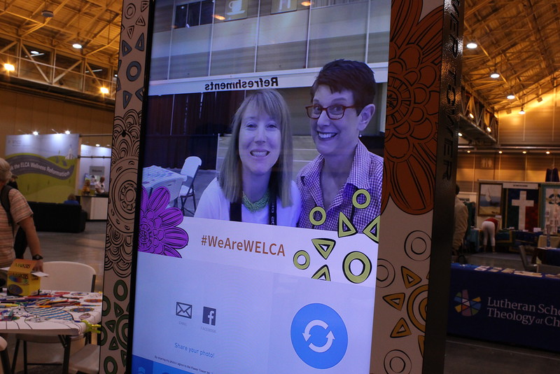 WELCA @ 2016 ELCA Churchwide Assembly and Grace Gathering<br /> <br /> Women of the ELCA staff, Elizabeth McBride and Terri Lackey test out the photo booth feature of the Power Tower. Smile!