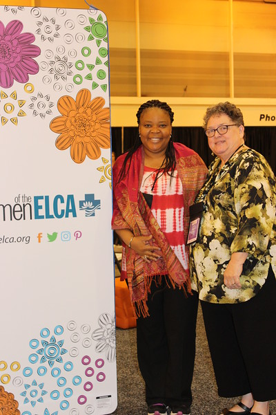 WELCA @ 2016 ELCA Churchwide Assembly and Grace Gathering<br /> <br /> Leymah Gbowee, left, poses with Linda Post Bushkofsky in our space.