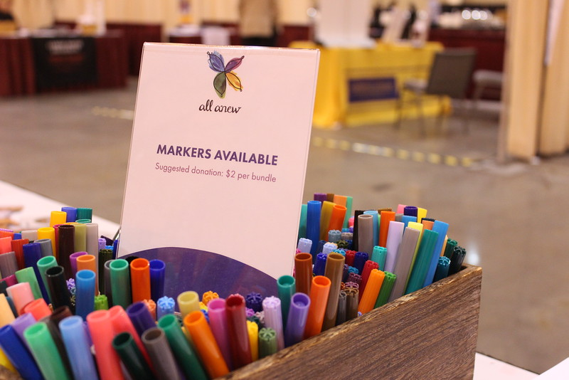 Cafe pop-up | WELCA @ 2016 ELCA Churchwide Assembly and Grace Gathering<br /> <br /> After visitors enjoyed coloring on the tables, they were encouraged for a small donation, to take markers with them with coloring sheets!