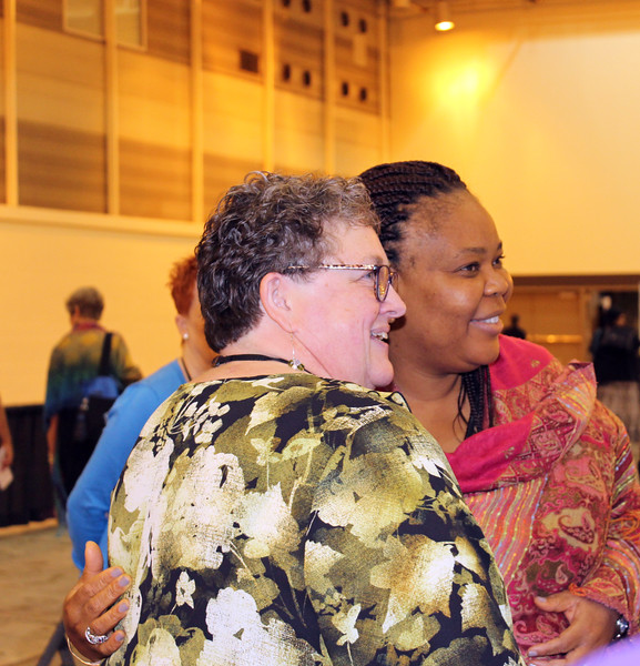 WELCA @ 2016 ELCA Churchwide Assembly and Grace Gathering<br /> <br /> Linda Post Bushkofsky, left,  and Leymah Gbowee pose to take photos from the Power Tower.