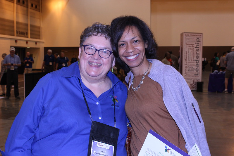 WELCA @ 2016 ELCA Churchwide Assembly and Grace Gathering<br /> <br /> Linda Post Bushkofsky, left, poses with one of our Triennial Gathering Promoters, Camille Trott. Who is the triennial gathering promoter in your area?
