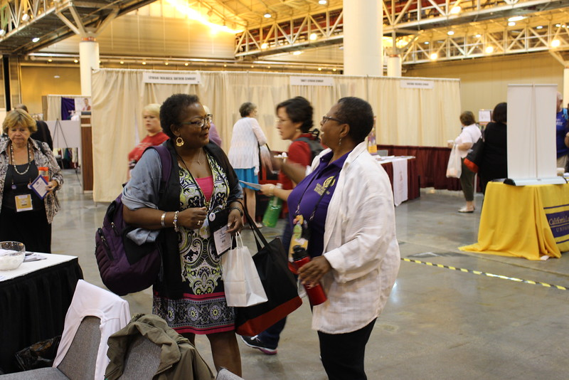 WELCA @ 2016 ELCA Churchwide Assembly and Grace Gathering<br /> <br /> The Rev. Angela Shannon, left, Bible Study writer for Gather magazine, stopped by to say hello.