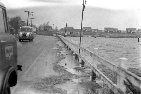 Hurricane - flooding on Commercial St., Wellfleet, MA , late 1950s