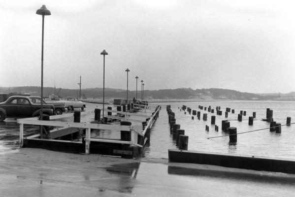 Hurricane - High water almost to the top of the pilings, Wellfleet, MA , late 1950s