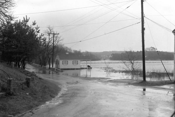 Hurricane - Flooding, view from the town pump, Wellfleet, MA , late 1950s