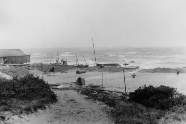 Hurricane - Struggle to save boats at the Yacht Club, Wellfleet, MA , late 1950s
