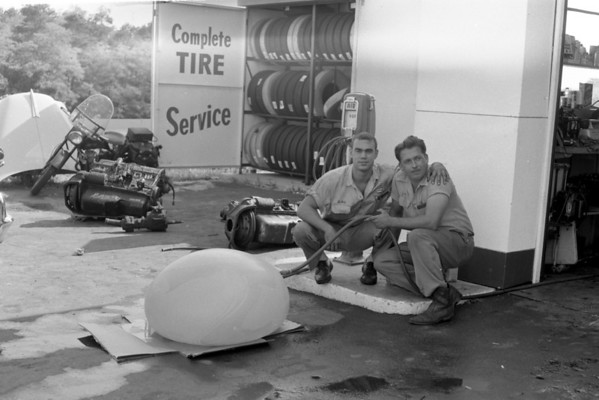 Peter Lee and Jim White at the Mobil station, Wellfleet, MA , late 1950s