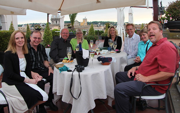 Drinks on the rooftop of the Grand Hotel de la Minerve