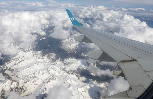 Flying over the Alps on Air Dolimiti from Munich to Trieste to start the tour season