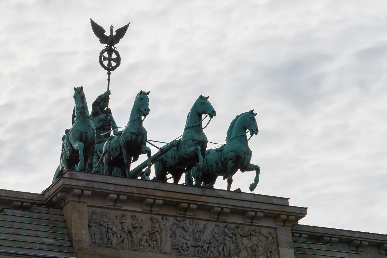 ATOP THE BRANDENBURG GATE, BERLIN.