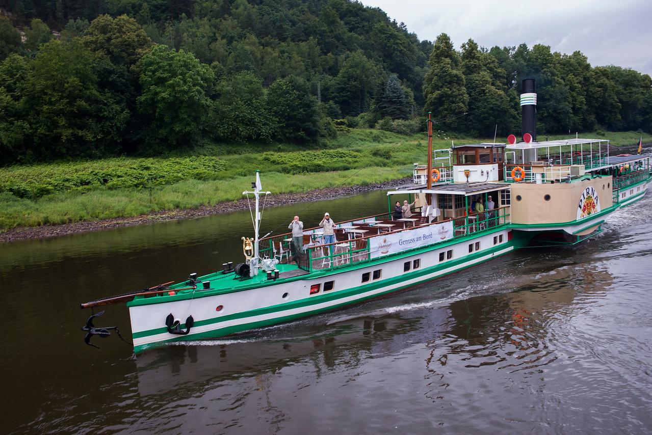 Paddle Steamer near Rathen, Germany.