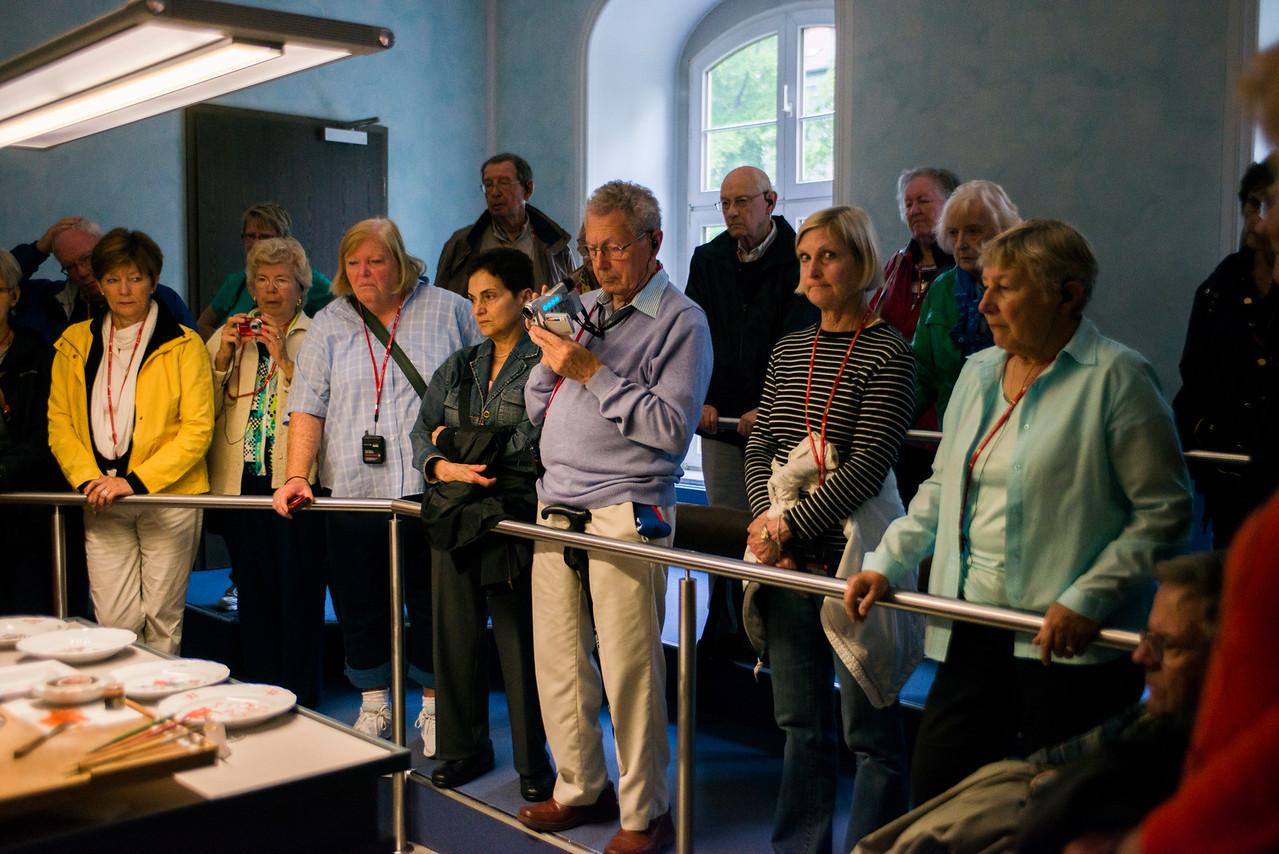Guests enjoy  the Meissen Porcelain factory demonstrations.