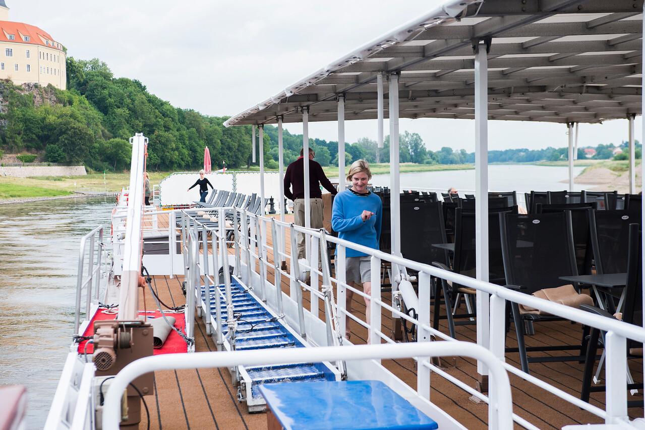 Passengers walking off the great Viking cuisine!