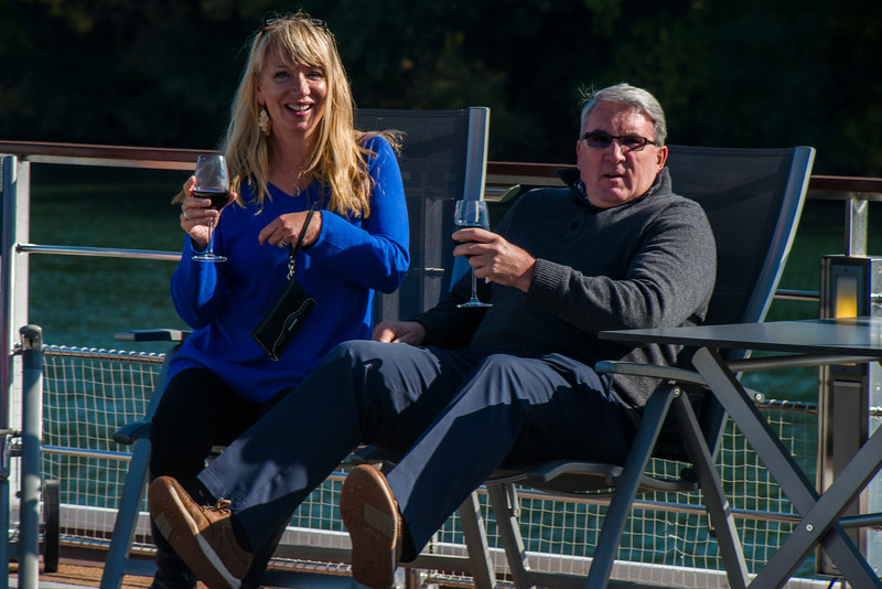 Guests relax on the sundeck enjoying the local produce!