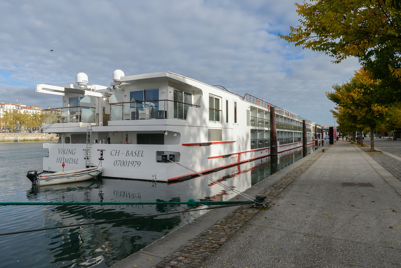 The Viking Heimdal docked in Lyon on the Rhône River.  Most travel journalists recognize this breed of vessel as the state-of-the-art in Europe today.