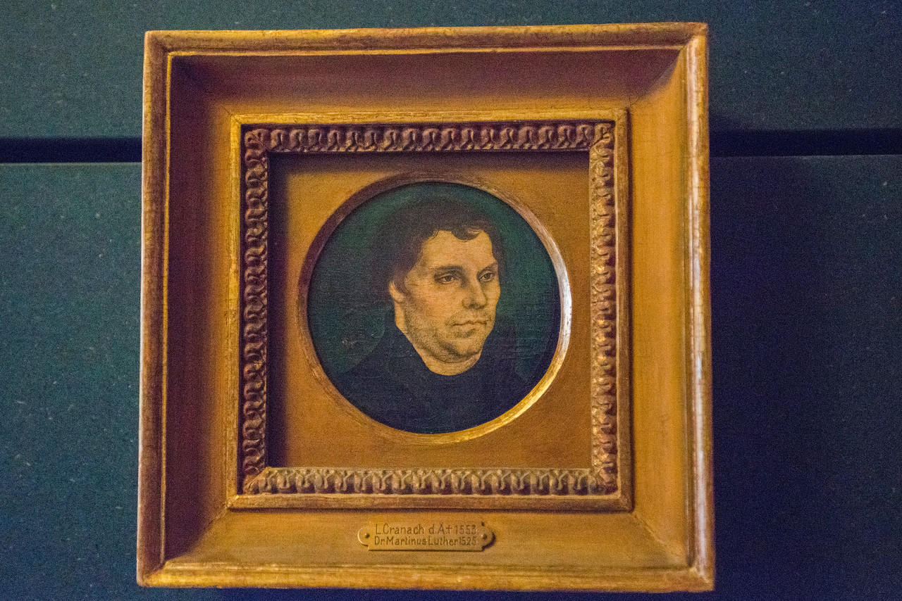 Portrait of Luther by Lucas Cranach, 1525, a gift from the artist to the couple at their wedding.