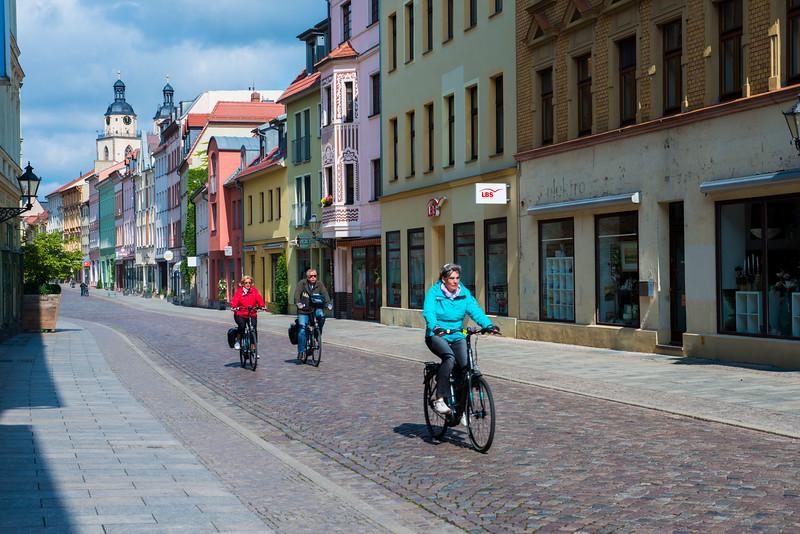 Mittelstrasse, Wittenberg town with Stadtkirche.
