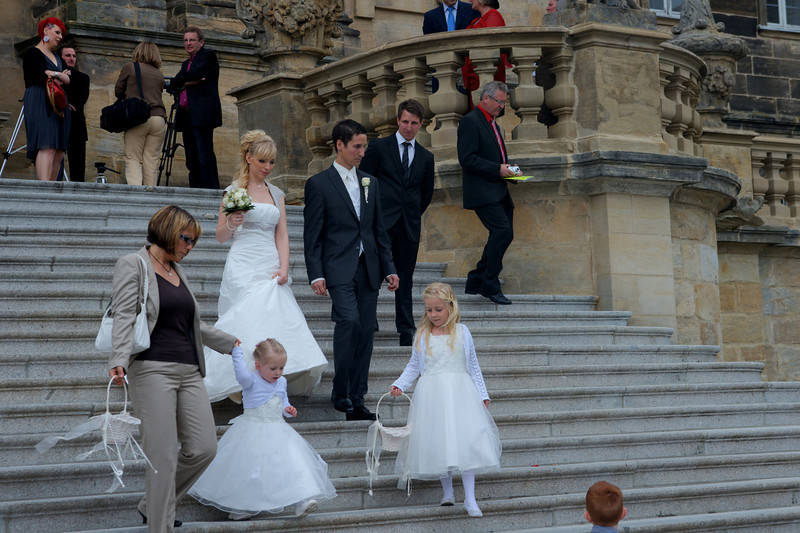 Bride, groom and attendants.