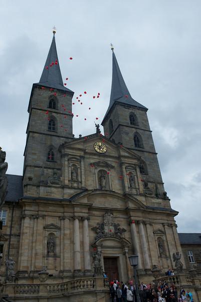 Balloons drift.